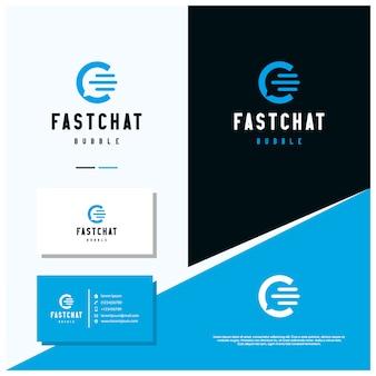 Design de logotipo de bate-papo de bolha com estilo de design