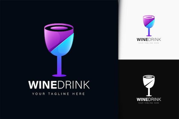 Design de logotipo de bebida de vinho com gradiente