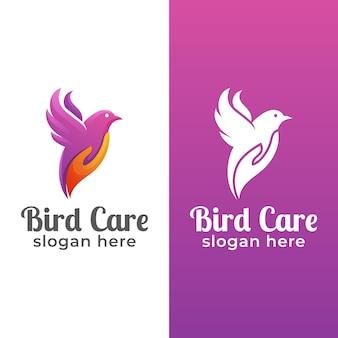 Design de logotipo de beleza animal cuidado de pássaros com formato de mão