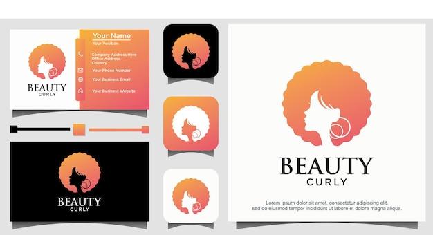 Design de logotipo de beleza cacheado