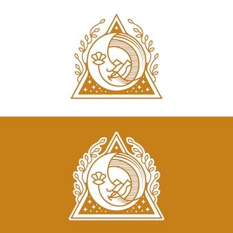 Design de logotipo de beleza de rosto de lua
