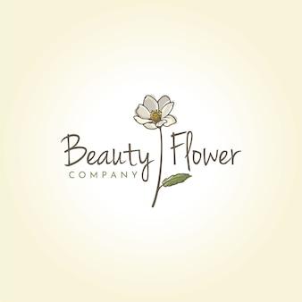 Design de logotipo de beleza montanha aven flor
