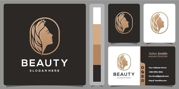 Design de logotipo de beleza mulher natureza com modelo de cartão de visita