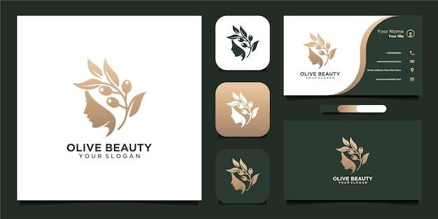 Design de logotipo de beleza verde-oliva com cartão de visita