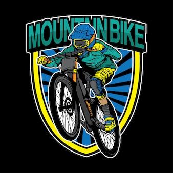 Design de logotipo de bicicleta de montanha