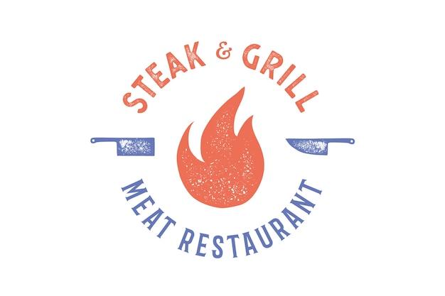 Design de logotipo de bife e grelha