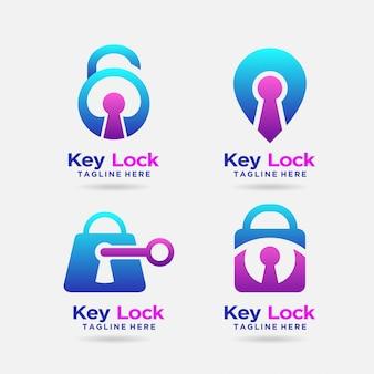 Design de logotipo de bloqueio de chave