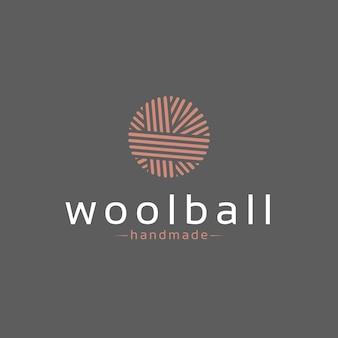 Design de logotipo de bola de lã