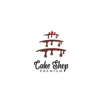 Design de logotipo de bolo com creme de chocolate gotejante