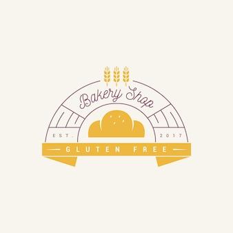 Design de logotipo de bolo de padaria sem glúten