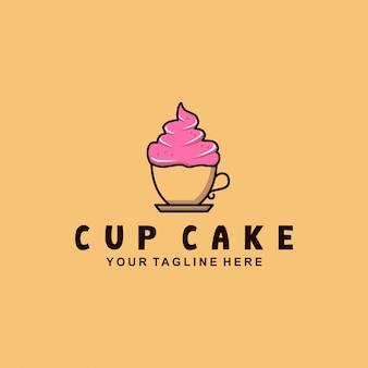 Design de logotipo de bolo de xícara com estilo simples