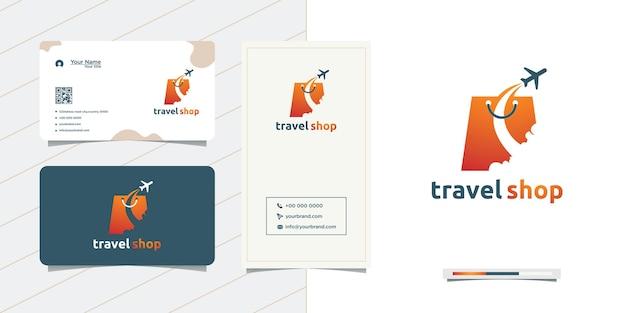 Design de logotipo de bolsa de viagem e cartão de visita