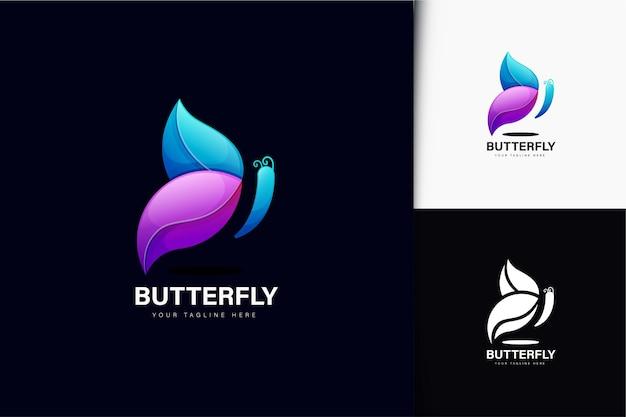 Design de logotipo de borboleta com gradiente