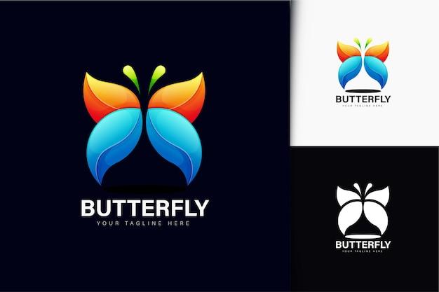 Design de logotipo de borboleta gradiente colorido
