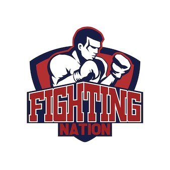 Design de logotipo de boxe fingter