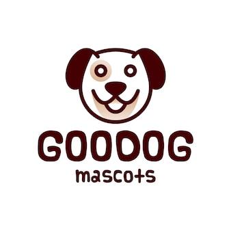 Design de logotipo de cabeça de cachorro redonda