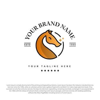Design de logotipo de cabeça de cavalo ou dragão com duas estrelas para o seu negócio