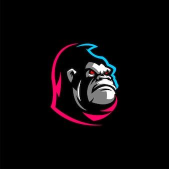 Design de logotipo de cabeça de gorila