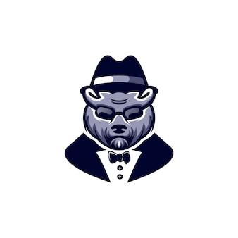 Design de logotipo de cabeça de urso legal