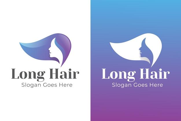 Design de logotipo de cabelo comprido de mulher de beleza gradiente