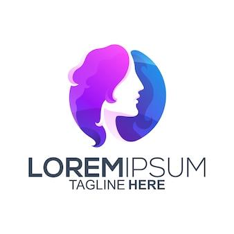 Design de logotipo de cabelo de beleza