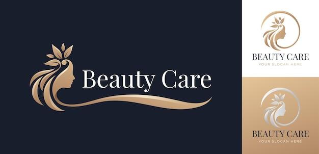 Design de logotipo de cabelo de flor de beleza luxuosa
