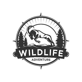 Design de logotipo de cabra de animais selvagens