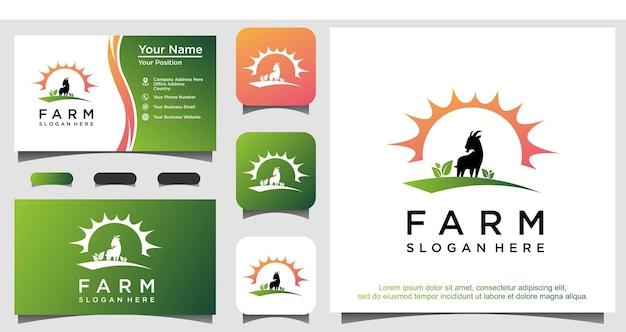 Design de logotipo de cabra de fazenda de jardim