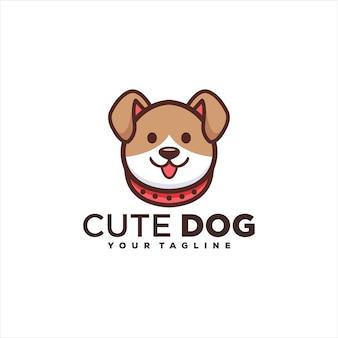 Design de logotipo de cachorro adorável fofo