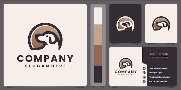 Design de logotipo de cachorro e conceito de cartão de visita