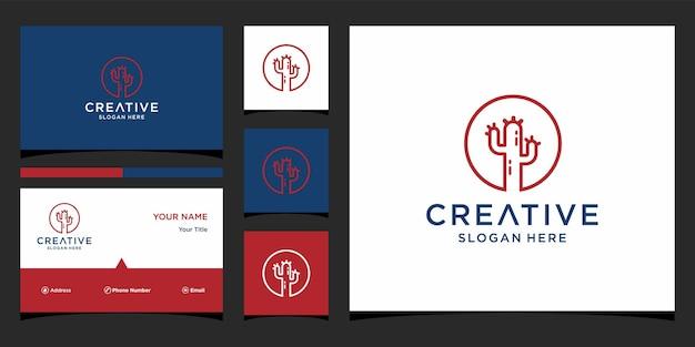 Design de logotipo de cacto com modelo de cartão de visita