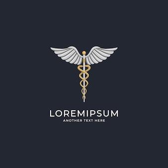 Design de logotipo de caduceu médico de luxo
