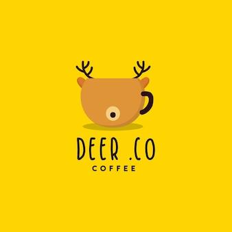 Design de logotipo de café de cervo criativo