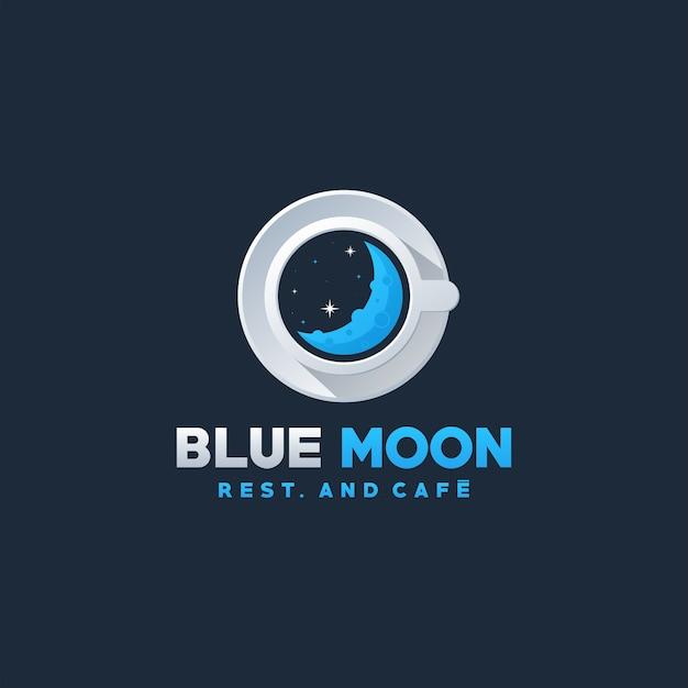 Design de logotipo de café lua azul