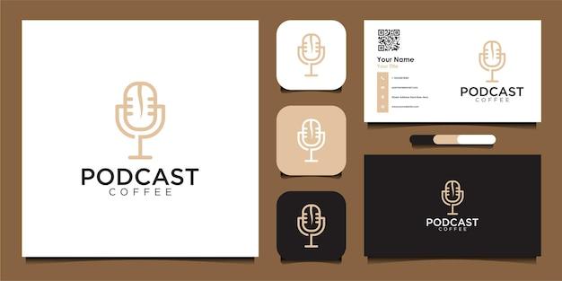 Design de logotipo de café podcast e vetor premium de cartão de visita