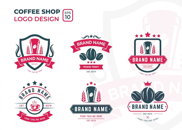 Design de logotipo de cafeteria com estilo retro e vintage para o seu negócio