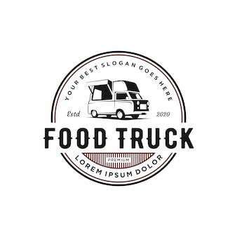 Design de logotipo de caminhão de comida vintage