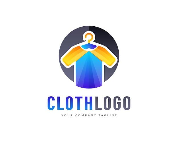 Design de logotipo de camiseta de marca em tecido colorido