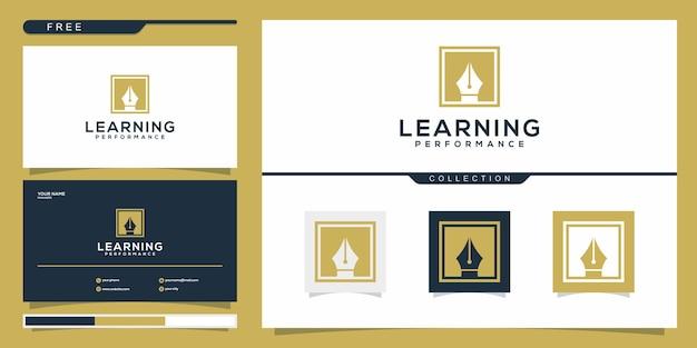 Design de logotipo de caneta e cartão de visita abstratos