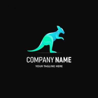 Design de logotipo de canguru colorido. logotipo do animal estilo gradiente
