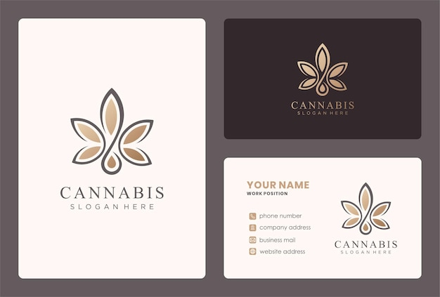 Design de logotipo de cannabis com modelo de cartão.