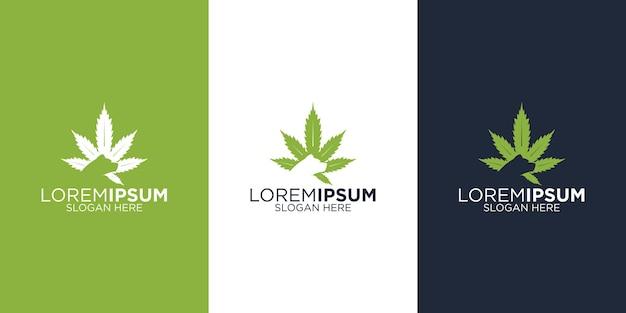 Design de logotipo de cannabis e urso