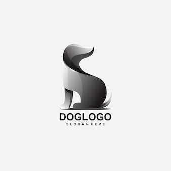 Design de logotipo de cão abstrato com vetor