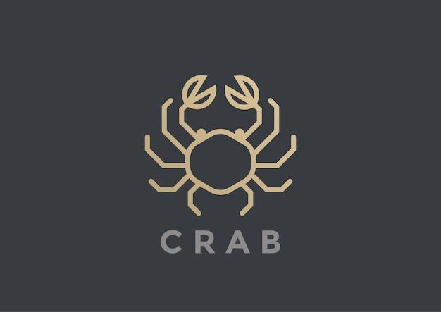 Design de logotipo de caranguejo. modelo de estilo linear geométrico. logotipo da loja de restaurantes de luxo de frutos do mar
