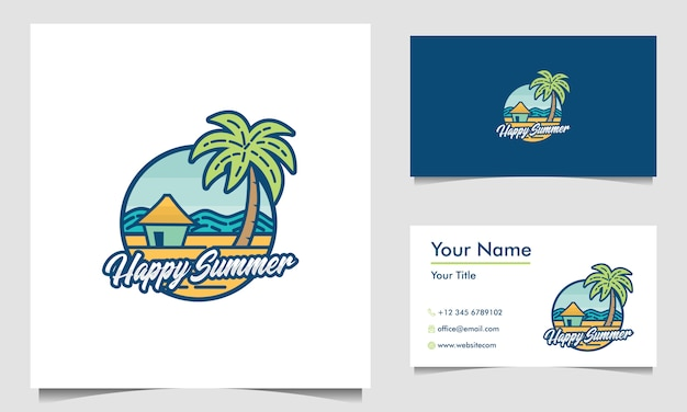Design de logotipo de carimbo de praia minimalista