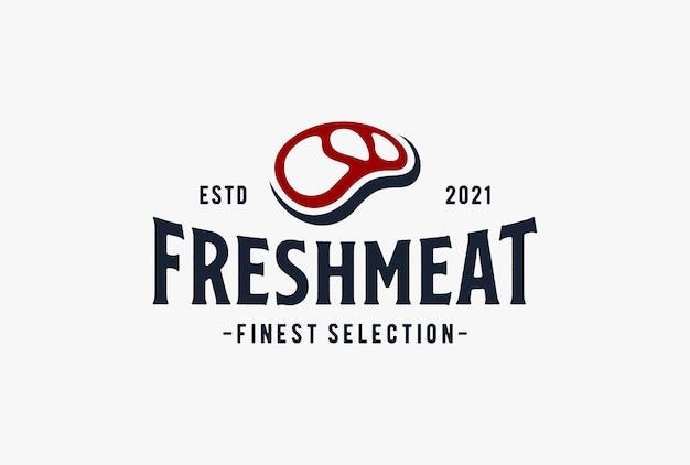 Design de logotipo de carne fresca.