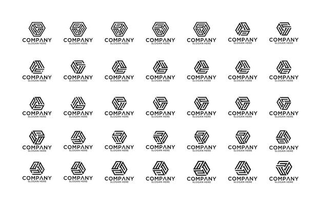 Design de logotipo de carta coleção de monograma premium