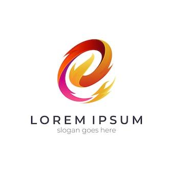 Design de logotipo de carta de fogo