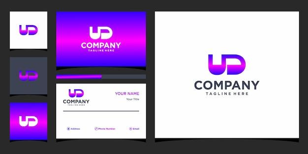 Design de logotipo de carta ud e cartão de visita premium vector