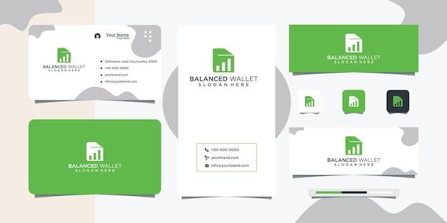 Design de logotipo de carteira simples e design de cartão de visita